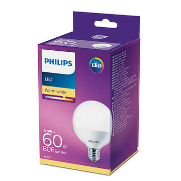 Philips Led 9.5W 806Lm (60W),  2700K pallolamppu