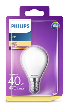 Philips Led 4.3W, 470Lm (40W), 2700K E14  mainoslamppu