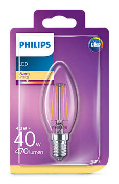 Philips Led Kynttilä 4.3W, E14 470LM  (40W), 2700K