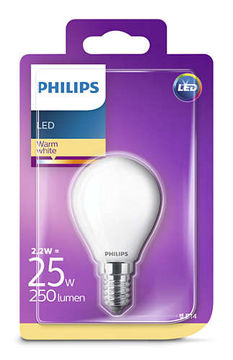 Philips Led 2,2W, 250Lm (25W), 2700K  E14   mainoslamppu