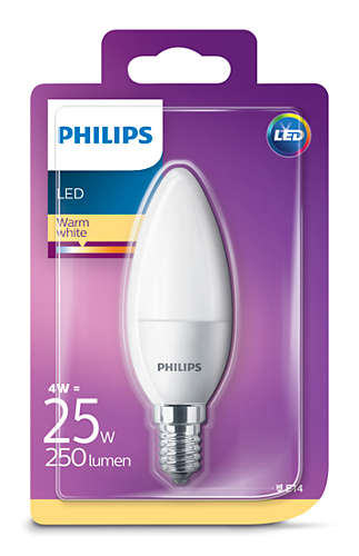 Philips Led Kynttilä 4W, E14 250LM (25W), 2700K